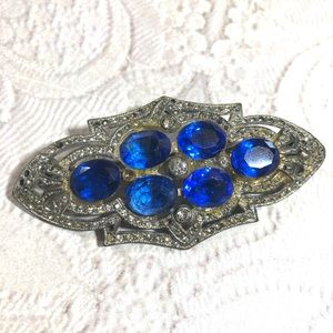 Vintage Victorian style blue and silver brooch